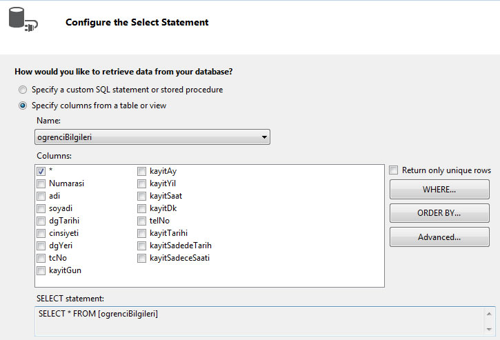 asp.net sqldatasource configure select statement